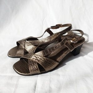 Olive/gold faux reptile skin low heel sandals